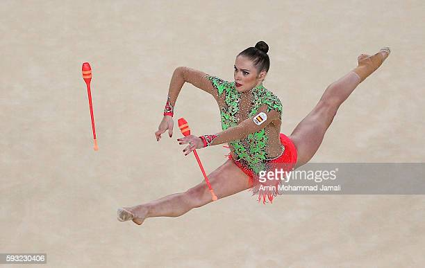 Team Spain competes during the Group AllAround Final on Day 16 of the Rio 2016 Olympic Games at Rio Olympic Arena on August 21 2016 in Rio de Janeiro...