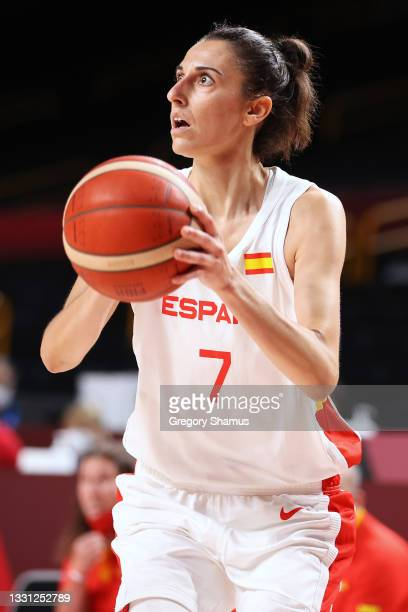Team Spain forward Alba Torrens sets up for a shot against Serbia during the first half of a Women's Preliminary Round Group A game on day six of the...