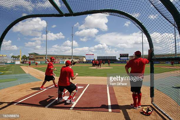 Team Spain players are seen during the World Baseball Classic Qualifier at Roger Dean Stadium on September 18, 2012 in Jupiter, Florida.