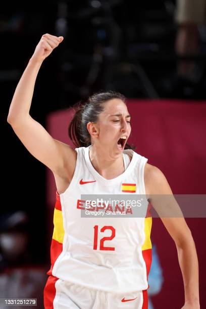 Team Spain point guard Maria Teresa Cazorla Medina celebrates against Serbia during the second half of a Women's Preliminary Round Group A game on...