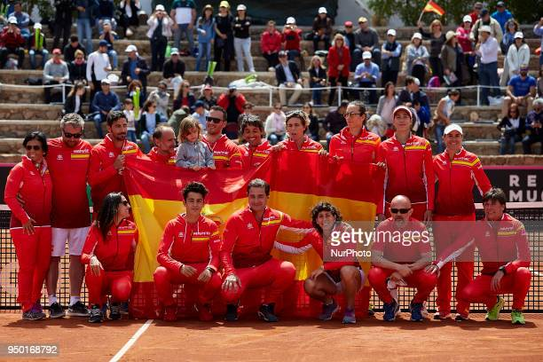 Team Spain pose for a picture during day two of the Fedcup World Group II Playoffs match between Spain and Paraguay at Centro de Tenis La Manga Club...