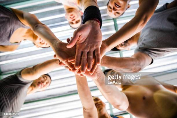 Team Sports at fitness gym - after workout relaxation