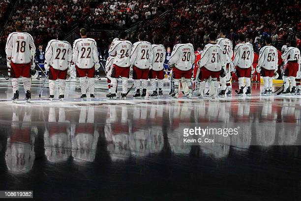 Team Staal lines up on the ice before they play against Team Lidstrom in the 58th NHL All-Star Game at RBC Center on January 30, 2011 in Raleigh,...