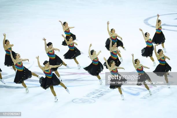 Team Starlight Junior of Switzerland performs in the Short Program during day one of the ISU World Junior Synchronized Skating Championships at...