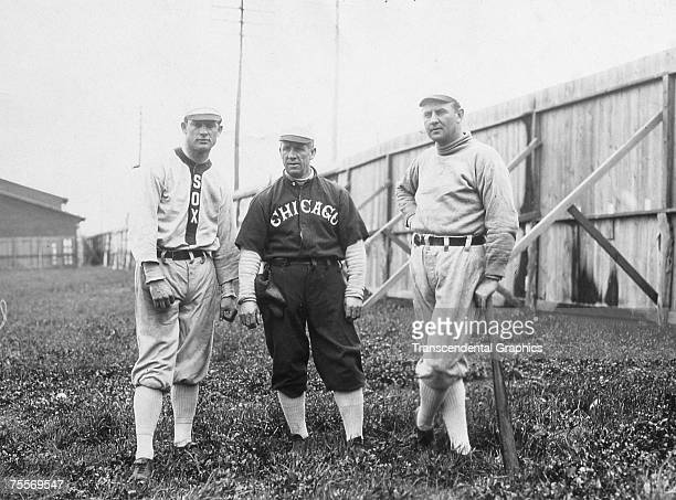 WELLS TEXAS MARCH 1912 Team stars pitcher Ed Walsh left and outfielder and manager Jimmy 'Nixey' Callahan right welcome new coach Kid Gleason to the...