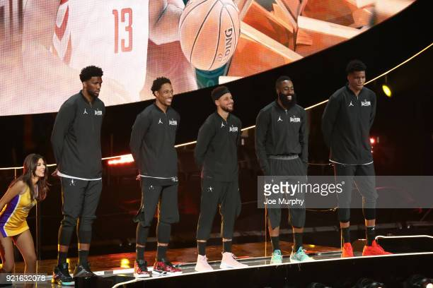 Team Stephen is introduced during the NBA AllStar Game as a part of 2018 NBA AllStar Weekend at STAPLES Center on February 18 2018 in Los Angeles...