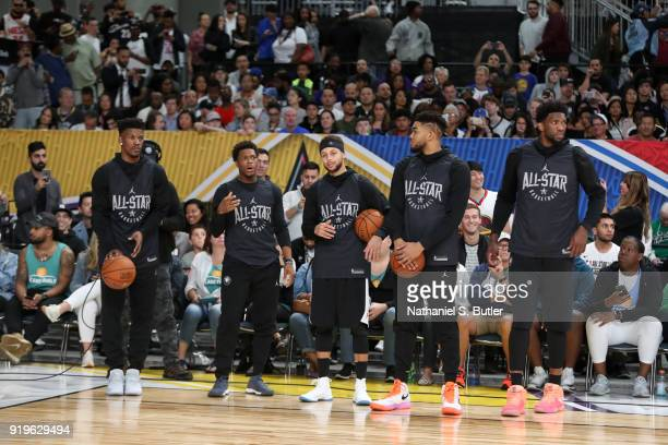 Team Stephen participates in the NBA AllStar practice as part of the 2018 NBA AllStar Weekend on February 17 2018 at the Verizon Up Arena at the LACC...