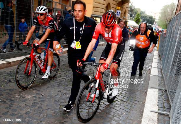 Team Sunweb rider Netherlands' Tom Dumoulin is escorted by a staff member after a crash in the stage four of the 102nd Giro d'Italia - Tour of Italy...