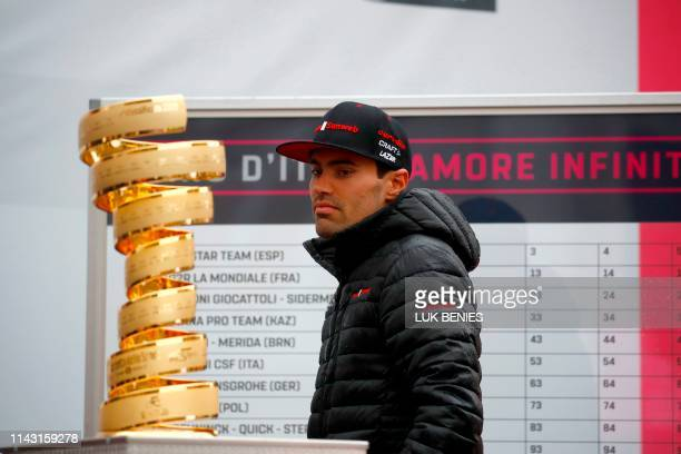 Team Sunweb rider Netherlands' Tom Dumoulin walks past the trophy before taking the start of the second stage of the 2019 Giro d'Italia the cycling...
