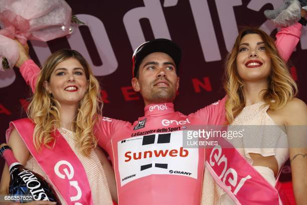 Team Sunweb rider Tom Dumoulin from Netherlands celebrates the Pink Jersey of the overall leader after the 15th stage of the 100th Giro d'Italia Tour...