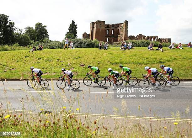 Team Sunweb's Ellen van Dijk and the leading riders cycle past Kenilworth Castle in Kenilworth Warwickshire during stage three of the OVO Energy...