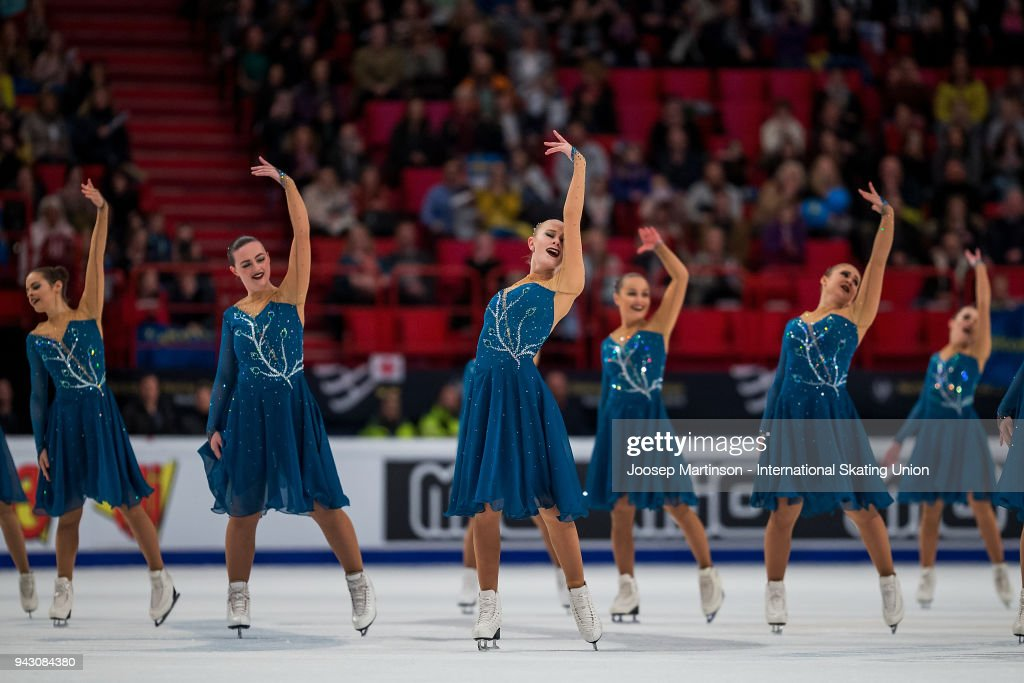 Team Surprise of Sweden compete in the Free Skating during the World Synchronized Skating Championships at Ericsson Globe on April 7, 2018 in Stockholm, Sweden.