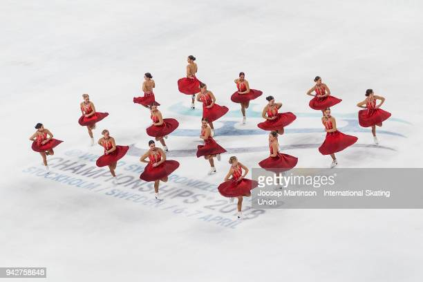 Team Surprise of Sweden compete in the Short Program during the World Synchronized Skating Championships at Ericsson Globe on April 6 2018 in...