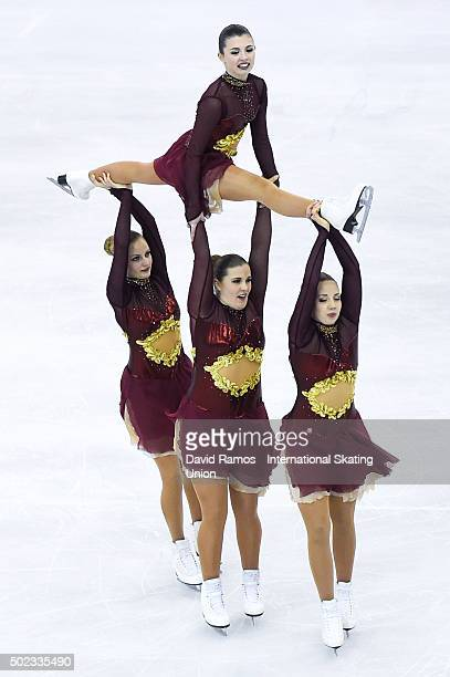 Team Surprise of Sweden performs during the Synchronized Skating Free program during day three of the ISU Grand Prix of Figure Skating Final...