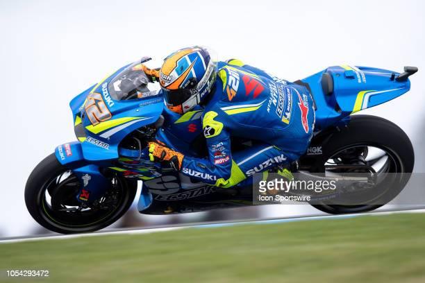 Team Suzuki Ecstar rider Alex Rins in qualifying during The 2018 Australian MotoGP at The Phillip Island Circuit in Victoria Australia on October 27...