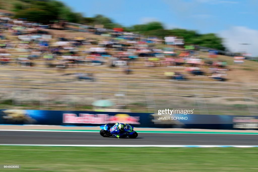 Team SUZUKI ECSTAR's Italian rider Andrea Iannone rides during the first MotoGP free practice session of the Spanish Grand Prix at the Jerez racetrack in Jerez de la Frontera on May 4, 2018.
