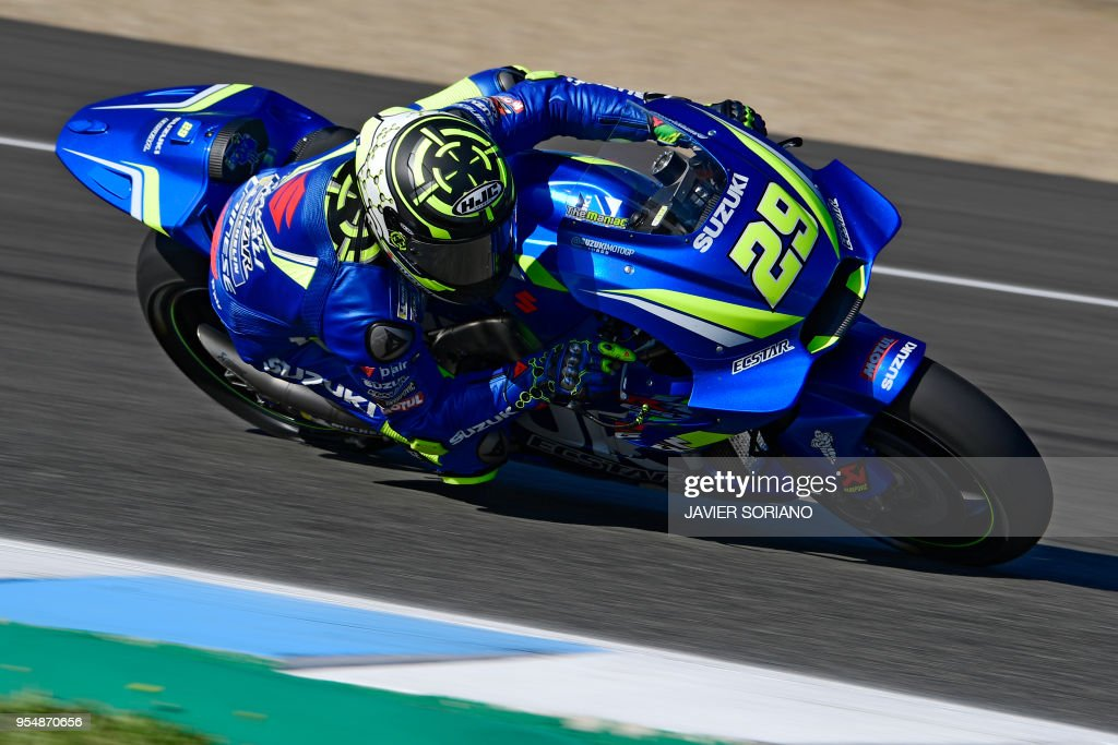 Team Suzuki Ecstar's Italian rider Andrea Iannone takes part in the third MotoGP free practice session of the Spanish Grand Prix at the Jerez racetrack in Jerez de la Frontera on May 5, 2018.
