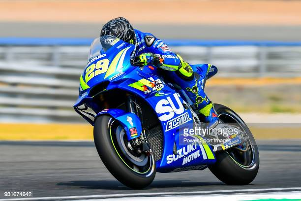 Team SUZUKI ECSTAR's rider Andrea Iannone of Italy rides during the MotoGP Official Test at Chang International Circuit on 17 February 2018, in...