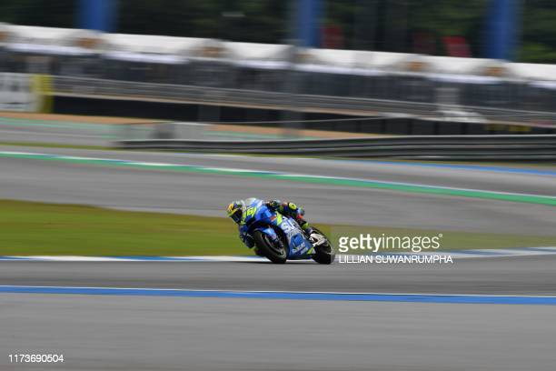 Team Suzuki Ecstar's Spanish rider Joan Mir rides during the third practice session of Thailand's MotoGP at Buriram International Circuit in Buriram...