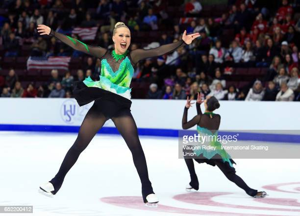 Team Sweden 2 perform in the Free Program during the ISU World Junior Synchronized Skating Championships at Hershey Centre on March 11 2017 in...