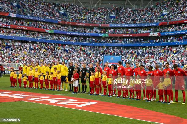 Team Sweden and team England line up before the 2018 FIFA World Cup Russia Quarter Final match between Sweden and England at Samara Arena on July 7...