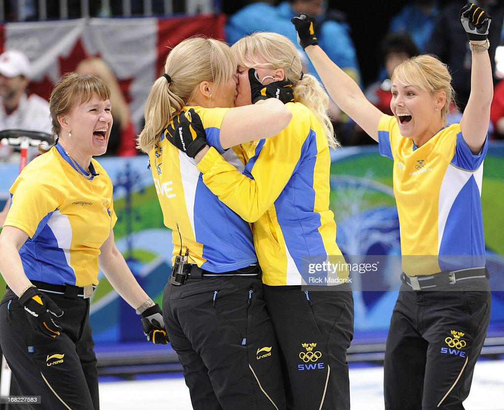 Anette Norberg team sweden basks in the glory of gold. eva lund and anette