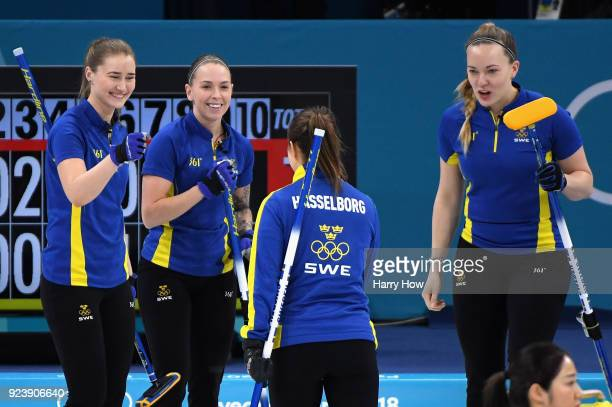 Team Sweden celebrate in the 7th end during the Women's Gold Medal Game between Sweden and Korea on day sixteen of the PyeongChang 2018 Winter...