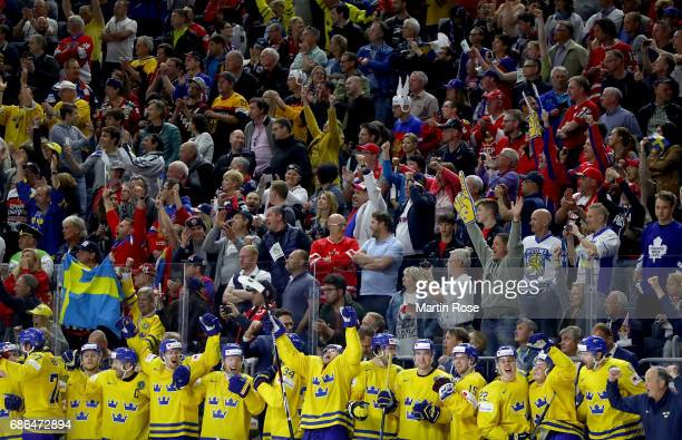 Team Sweden celebrate victory over Canada after the 2017 IIHF Ice Hockey World Championship Gold Medal game Canada and Sweden at Lanxess Arena on May...