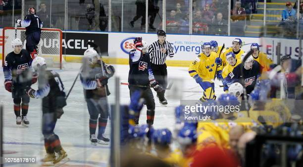 Team Sweden celebrates a goal versus of the United States at the IIHF World Junior Championships at the Save-on-Foods Memorial Centre on December 29,...
