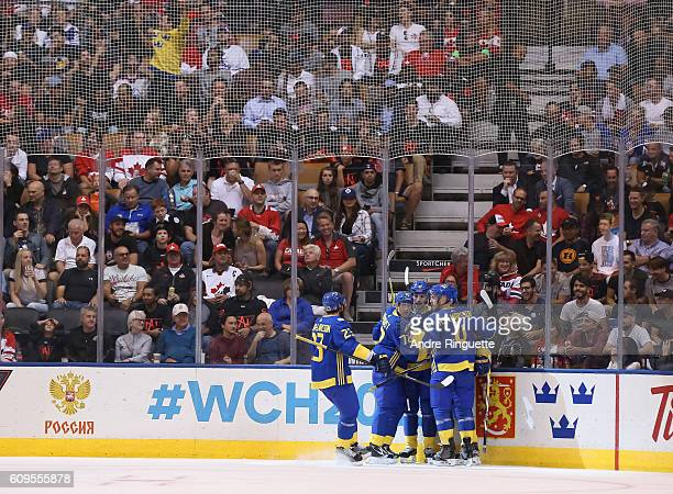 Team Sweden celebrates after scoring a first period goal goal on Team North America during the World Cup of Hockey 2016 at Air Canada Centre on...