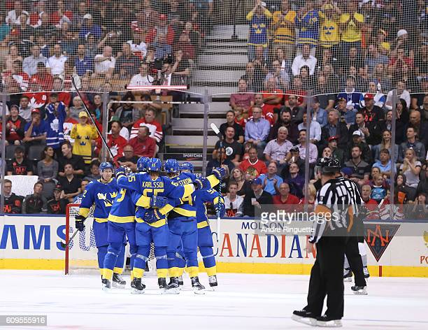 Team Sweden celebrates after scoring a first period goal on Team North America during the World Cup of Hockey 2016 at Air Canada Centre on September...