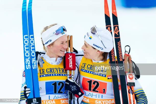 Team Sweden I's Maja Dahlqvist and Ida Ingemarsdotter win the Ladies FIS CrossCountry World Cup 6 x 14 km Team Sprint Classic Final at the Lahti Ski...