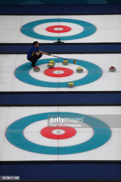 Team Sweden lines up a shot against the United States during the Curling Men's Gold Medal game on day fifteen of the PyeongChang 2018 Winter Olympic...
