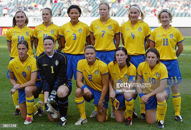 Team Sweden poses for a photo before the start of their FIFA Women's World Cup match against Korea DPR at Lincoln Financial Field on September 25...