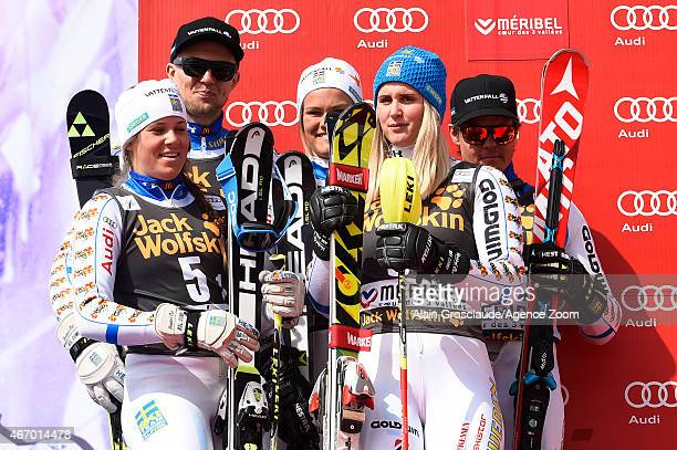 Team Sweden take 2nd place during the Audi FIS Alpine Ski World Cup Finals Nations Team Event on March 20 2015 in Meribel France