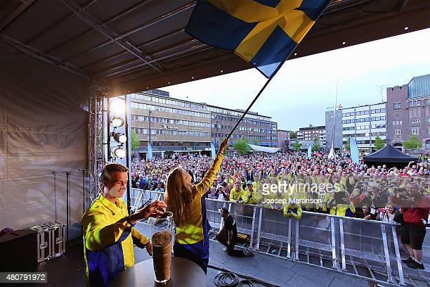 Team Sweden walks to the stage the European Athletics Junior Championships Opening Ceremony at Eskilstuna Town Hall Square on July 15 2015 in...