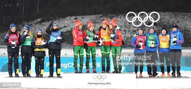 Team Sweden wins the silver medal team Belarus wins the gold medal team France wins the bronze medal during the Biathlon Women's Relay at Alpensia...