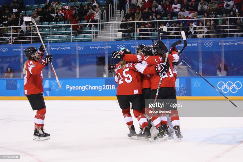 Team Switzerland celebrate defeating Team Korea 8-0 during the Women's Ice Hockey Preliminary Round - Group B game on day one of the PyeongChang 2018 Winter Olympic Games at Kwandong Hockey Centre on February 10, 2018 in Gangneung, South Korea.