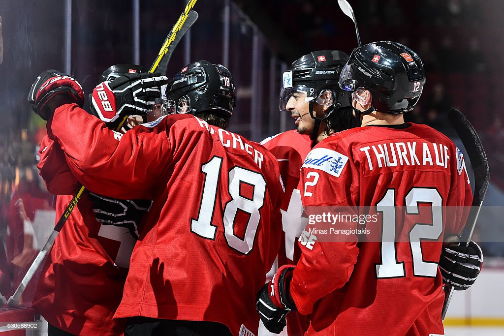Team Switzerland celebrates a third period goal during the IIHF World Junior Championship preliminary round game against Team Czech Republic at the Bell Centre on December 27, 2016 in Montreal, Quebec, Canada. Team Switzerland defeated Team Czech Republic 4-3 in overtime.