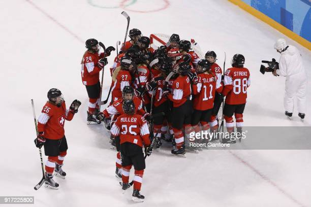 Team Switzerland celebrates defeating Team Japan 3-1 in the Women's Ice Hockey Preliminary Round - Group B game on day three of the PyeongChang 2018...