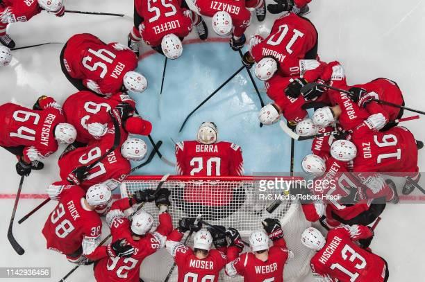Team Switzerland circles around Goalie Reto Berra prior the 2019 IIHF Ice Hockey World Championship Slovakia group B game between Switzerland and...