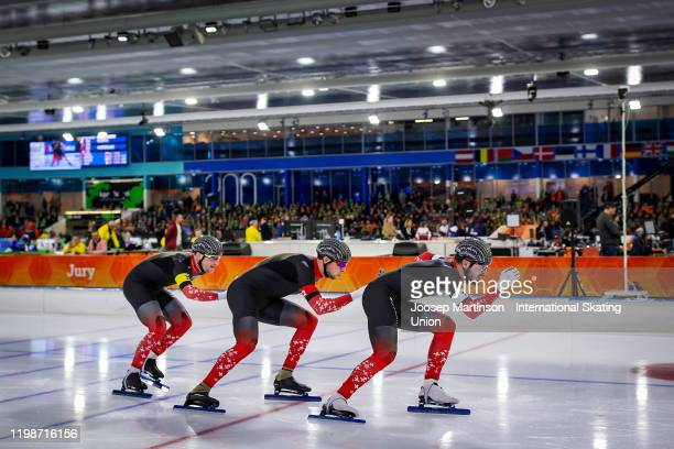 Team Switzerland compete in the Men's Team Sprint during day 1 of the ISU European Speed Skating Championships at ice rink Thialf on January 10, 2020...