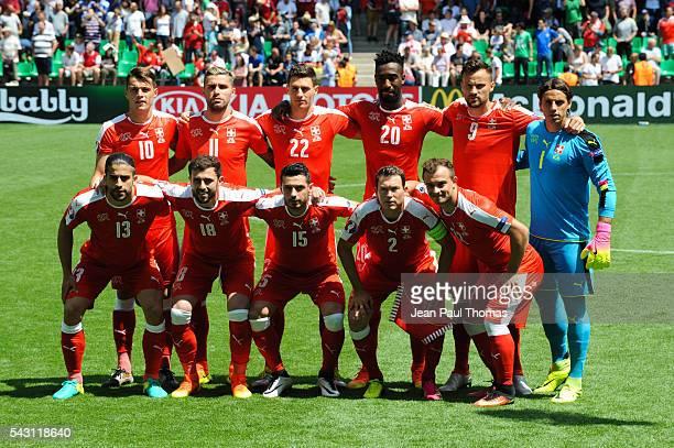 Team Switzerland during the European Championship match Round of 16 between Switzerland and Poland at Stade GeoffroyGuichard on June 25 2016 in...