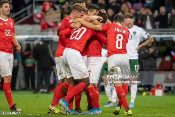 Team Switzerland players celebrate a goal during the UEFA Euro 2020 qualifier between Switzerland and Republic of Ireland on October 15 2019 in...