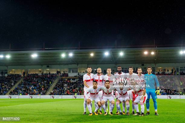 Team Switzerland poses prior to the FIFA 2018 World Cup Qualifier between Latvia and Switzerland at Skonto Stadium on September 3 2017 in Riga Latvia