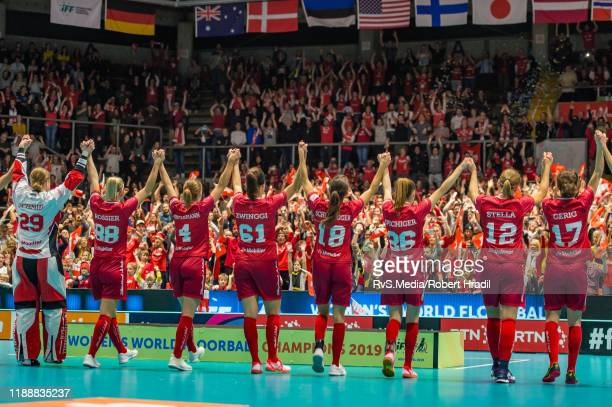Team Switzerland salutes to the crowd after the Gold Medal game of 2019 Women's World Floorball Championships between Sweden and Switzerland at...