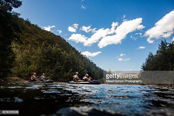 Team T7 New Zealand Adventure starting the packraft leg down the Shoalhaven River during the Adventure Race World Championship on November 13 2016 in...