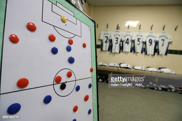 Team tactics play board and West Bromwich Albion players shirts hanging in the away dressing room prior to the Premier League match between...