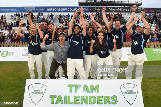 Team Tailenders celebrates as they win during the Radio 5 Live Cricket Match between TMS and Tailenders at Derby County Cricket Ground on August 17...
