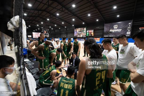Team Taiwan beer at the court side during the SBL Finals Game Six between Taiwan Beer and Yulon Luxgen Dinos at Hao Yu Trainning Center on April 30,...